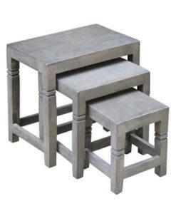 LuxD Set 3 odkladacích stolíkov Harlow 45 cm sivá akácia