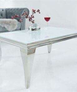 LuxD Dizajnový konferenčný stolík Rococo biely / strieborný
