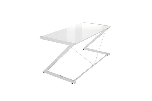 Meble PL Dizajnový stôl Prest chrómovaný biela