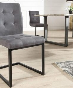LuxD 18231 Jedálenská stolička vintage English šedá