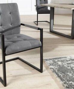 LuxD 18232 Jedálenská stolička vintage English šedá s operadlom