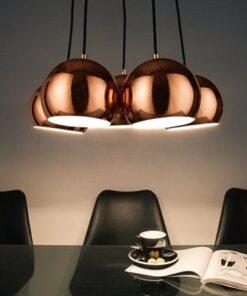 LuxD 21373 Dizajnová závesná lampa Briella- zlatoružová závesné svietidlo