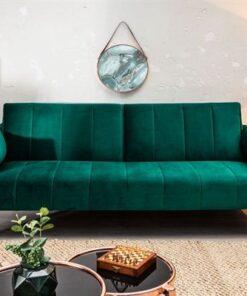 LuxD Rozkladacia sedačka Amiyah 215 cm smaragdovozelený zamat