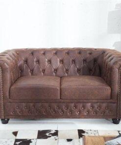 LuxD Dvojsedačka Chesterfield Vintage II koža
