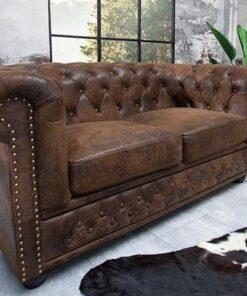 LuxD Dvojsedačka Chesterfield Vintage hnedá