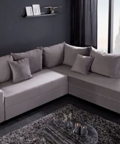 LuxD Rohová rozkladacia sedačka Nathalie sivý zamat