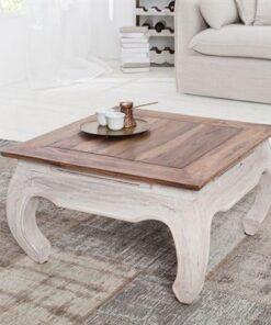LuxD Konferenčný stolík Provence 60 cm / biela - mahagónová