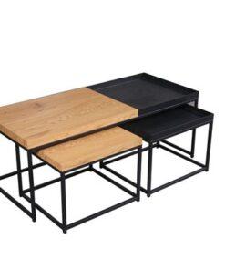 LuxD Set konferenčných stolíkov Giuliana 3 ks vzor dub - čierny