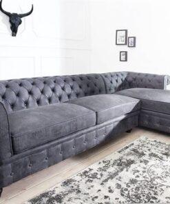 LuxD Rohová sedačka Chesterfield Vintage sivá