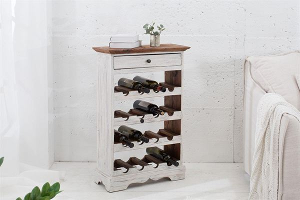 LuxD Elegantný regál na víno Provence / biela - mahagónová