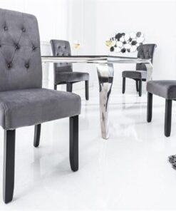 LuxD 20619 Dizajnová stolička Clemente s podhlavníkom sivá