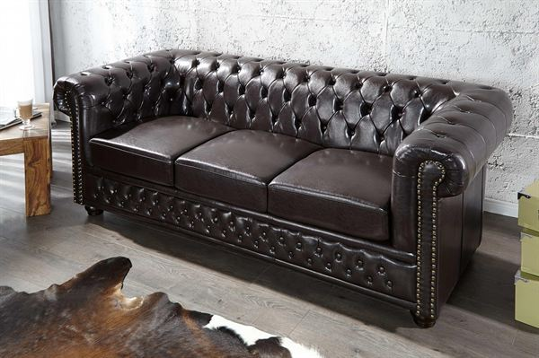 LuxD Trojsedačka Chesterfield tmavo hnedá  - RP