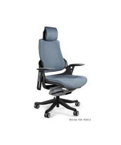 Meble PL Kancelárska stolička Wanda čierny podklad tkanina sivá