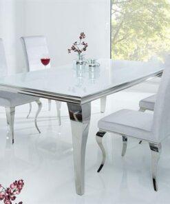 LuxD Jedálenský stôl Rococo 180 cm biela / strieborná