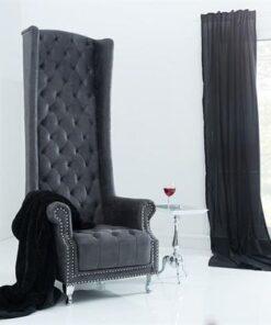 LuxD Kráľovské kreslo King Luxury Vintage šedá
