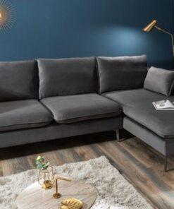 LuxD Rohová sedačka Lena 260 cm striebornosivý zamat