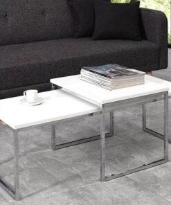 LuxD Set 2 konferenčných stolíkov Nicolette biela