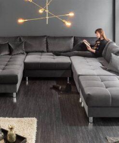 LuxD Dizajnová rohová sedačka Ciara XXL 305 cm sivý zamat s taburetkou