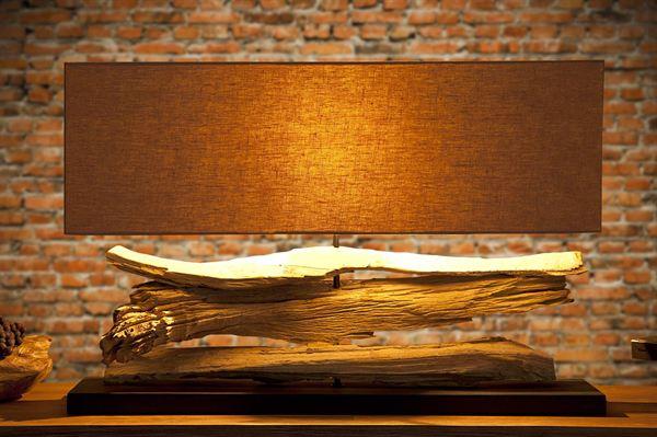 LuxD 17135 Stolná lampa z naplaveného dreva Lake béžová
