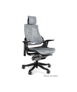 Meble PL Kancelárska stolička Wanda čierny podklad elastomér sivá