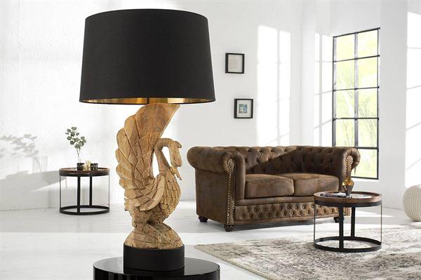 LuxD 18310 Exkluzívna stolná lampa labuť z agátového dreva