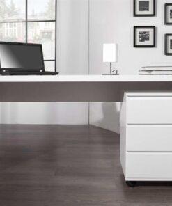 LuxD Kancelársky stôl Barter 160cm biely vysoký lesk 160 cm x 75 cm