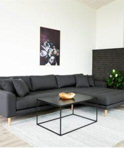 Norddan Dizajnová sedačka s otomanom Ansley tmavosivá - pravá
