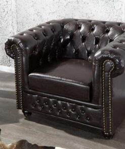 LuxD Luxusné kreslo Chesterfield II tmavo hnedé