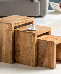 LuxD Set odkladacích stolíkov Timber mango prírodné - 3 ks