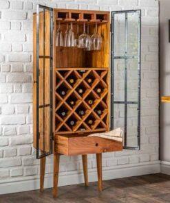 LuxD Regál na víno Winebar 145 cm akácia