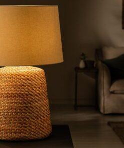 LuxD 24281 Ratanová stolná lampa Terrell 82 cm prírodná - béžová