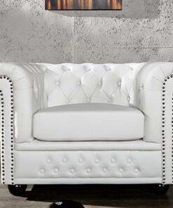 LuxD Luxusné kreslo Chesterfield II biele