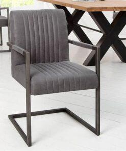 LuxD 18602 Stolička Boss Vintage sivá II podrúčky